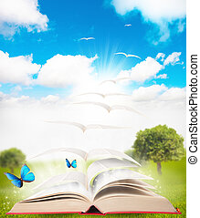 Book and nature - book that turns into a bird