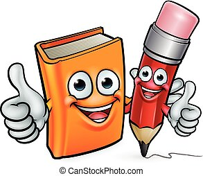 Book and Pencil Cartoon Characters