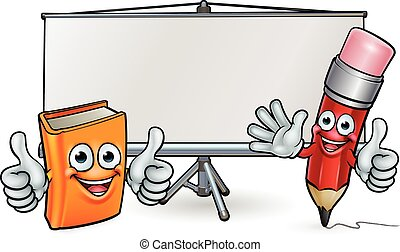 Book and Pencil Mascots and Whiteboard