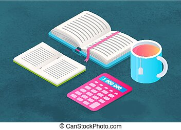 Book and Stationery, Supplies for Study and Teacup