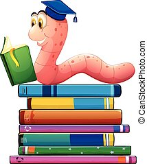 Book and worm - Illustration of a bookworm reading many...