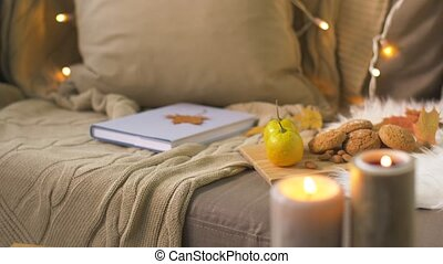 book, autumn leaves, nuts and cookies on sofa - cozy home...