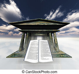 Book before Ancient Temple