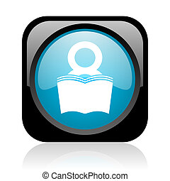 book black and blue square web glossy icon