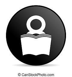 book black circle web glossy icon