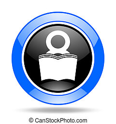 book blue and black web glossy round icon