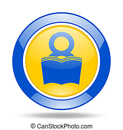 book blue and yellow web glossy round icon