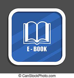 Book blue flat design square web icon