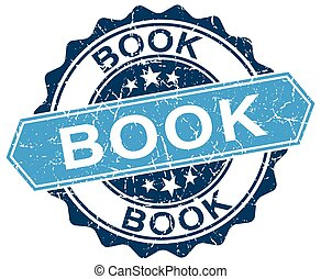 book blue round grunge stamp on white