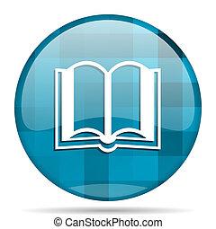 book blue round modern design internet icon on white background