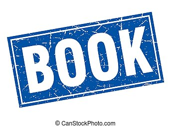 book blue square grunge stamp on white