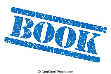 book blue square grungy isolated rubber stamp