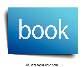 book blue square isolated paper sign on white