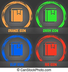 Book bookmark icon. Fashionable modern style. In the orange, green, blue, red design. Vector