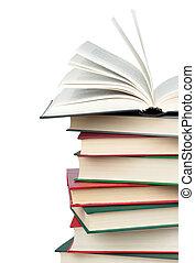 book., books., open, stapel