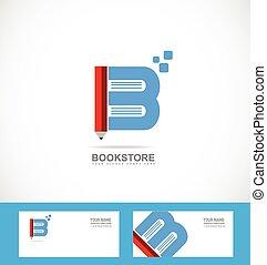 Book bookstore library pencil logo