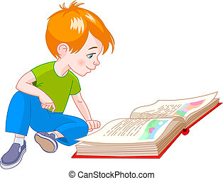 Book boy - boy  sitting on floor and reading a book