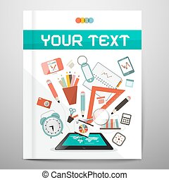 Book - Brochure - Leaflet Layout with School Items - Learn and Study Management Vector Illustration