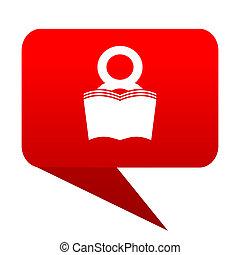 book bubble red icon