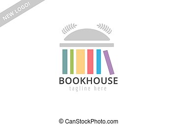 Book building template logo icon. Back to school. Education, university, college symbol or knowledge, books stack, publish, page paper. Design element. Isolated on white.