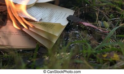 Book burning on the ground. The wind leafs through the book page