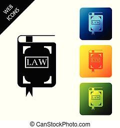 book., buttons., セット, カラフルである, アイコン, concept., 隔離された, イラスト, バックグラウンド。, ベクトル, 広場, 法的, 裁判官, 白, 法律, 判断, 本, アイコン