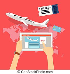 book buy plane flight ticket online via internet for travel with tablet computer