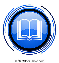 book circle blue glossy icon