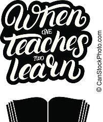 book., cita, escrito, abierto, dos, cuándo, aprender, enseña...