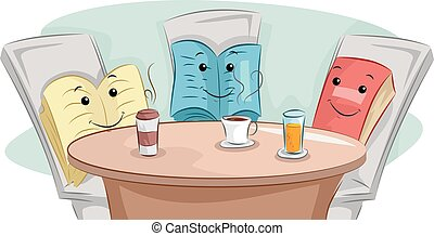 Mascot Illustration of Books Having Coffee Together - Book Club