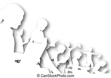 Book club cutout - Illustration of children reading books...