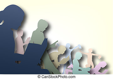 Book club - Illustration of children reading books with...