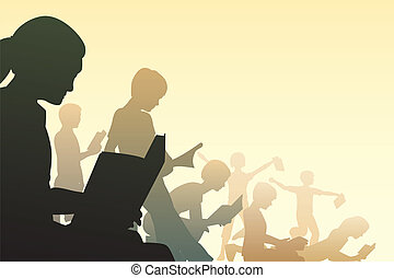 Book club - Editable vector illustration of children reading...