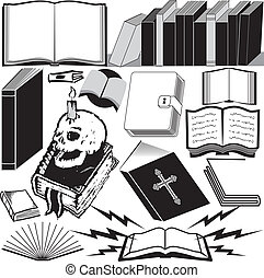 A clip art collection of various book icons and art