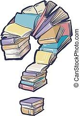 Book Collection Question Mark - Conceptual Illustration ...