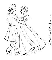 book:, coloração, valsa, par dançando