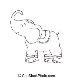 book., coloration, éléphant