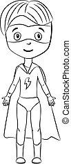book:, coloration, superhero, dessin animé