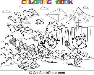 Book coloring children pranks - The illustration shows a boy...