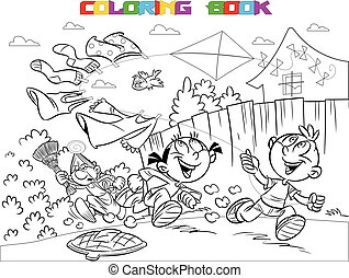 The illustration shows a boy and a girl on vacation in the countryside. They frolic and launch a kite. Book coloring in cartoon style, vector, on separate layers, black and white contour.