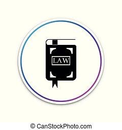 book., concept., button., イラスト, 隔離された, バックグラウンド。, ベクトル, 法的, 裁判官, 円, 白, 法律, 判断, 本, アイコン