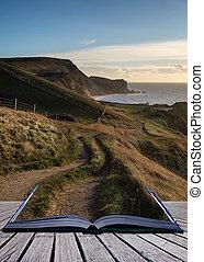 Book concept Coastal path landscace at sunrise on Jurassic Coast England