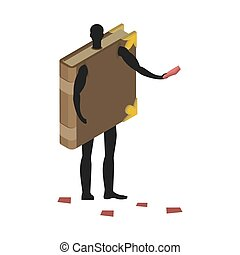 Book costume man mascot promoter. Male in suit volume distributes flyers. Puppets psalterium engaged in advertising goods