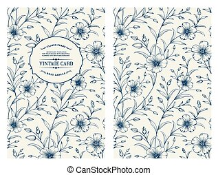 Book cover design. - Flax flower isolated over gray...
