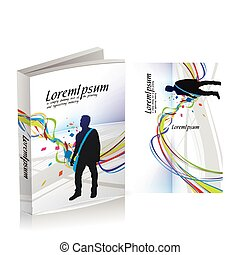 book cover design isolated over colorful background, vector illustration.