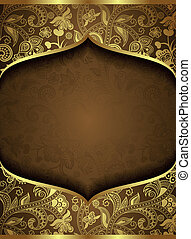 Illustration of abstract background with gold floral.