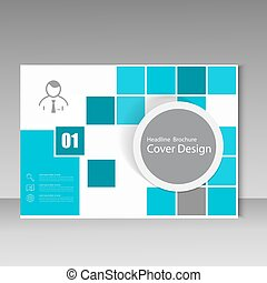 Vector book or flyer leaflet cover design with landscape on title