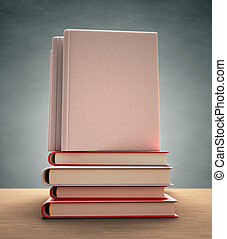 Book Cover - Several books over the table. Your text or...