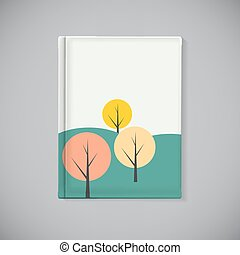 Book Cover Template with Simple Autumn Tree Background Vector Illustration