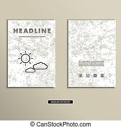 Book cover with contour images of clouds and sun